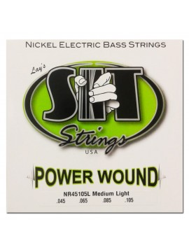 Encordado para Bajo, NR45105L, Power Wound, nickel, medium light, 045-105, 4 cuerdas.